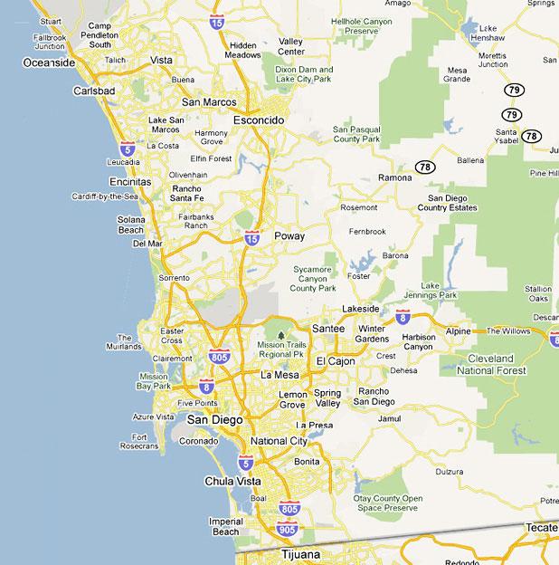California san diego map